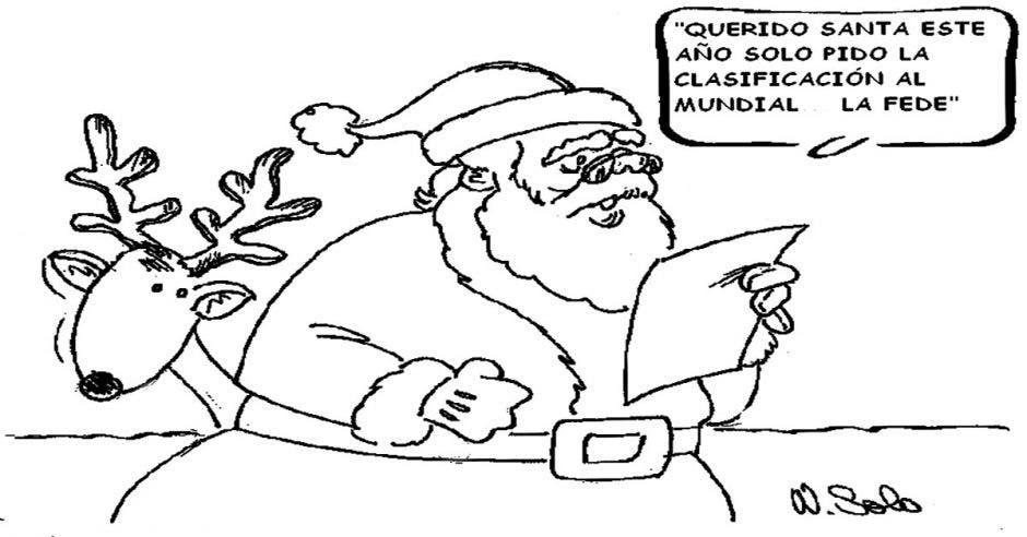 Caricatura del Santa Claus y un reno