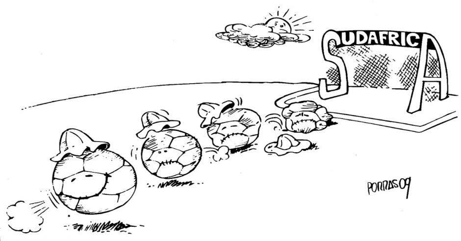 Caricatura bolas de futból ingresando al marco casi desinfladas