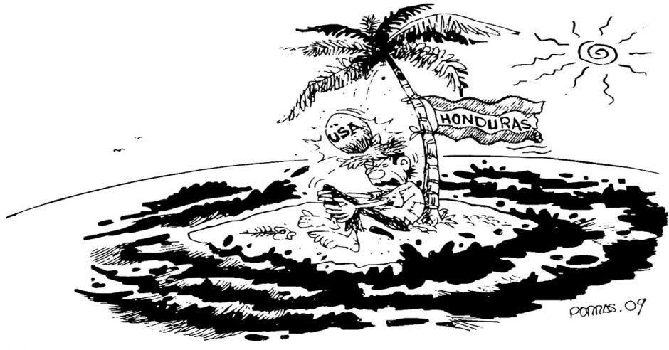 Caricatura hombre solo en una isla cayéndole un coco de una palmera en la cabeza