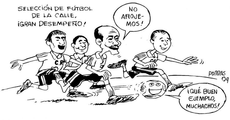 Caricatura varias personajes corriendo detrás de una bola de futból