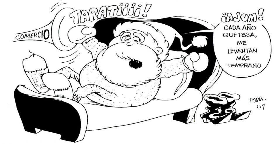 Caricatura Santa Claus despertándose de la cama