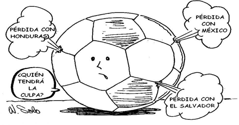 Caricatura de una bola de futból hablando de la mala presentación de la selección de futból