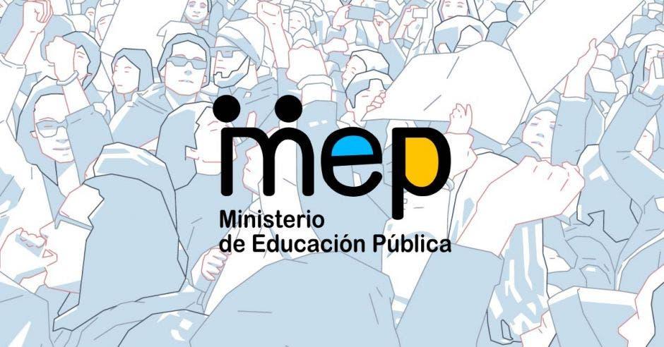 Siluetas de personas protestando y un logo del MEP