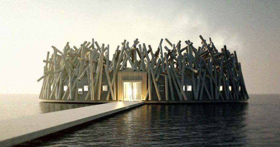 estructura de madera en forma circular flotante
