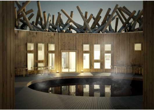 piscina dentro de una estructura de madera circular