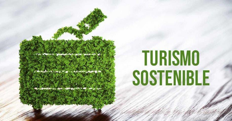 maleta de viajes pero hecha de puras hojas verdes