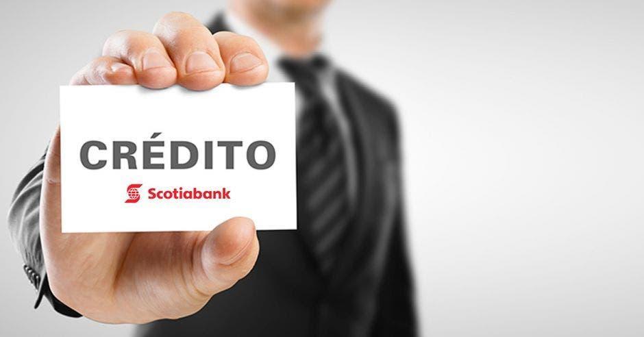 Tarjeta, Crédito, mano, Scotiabank.