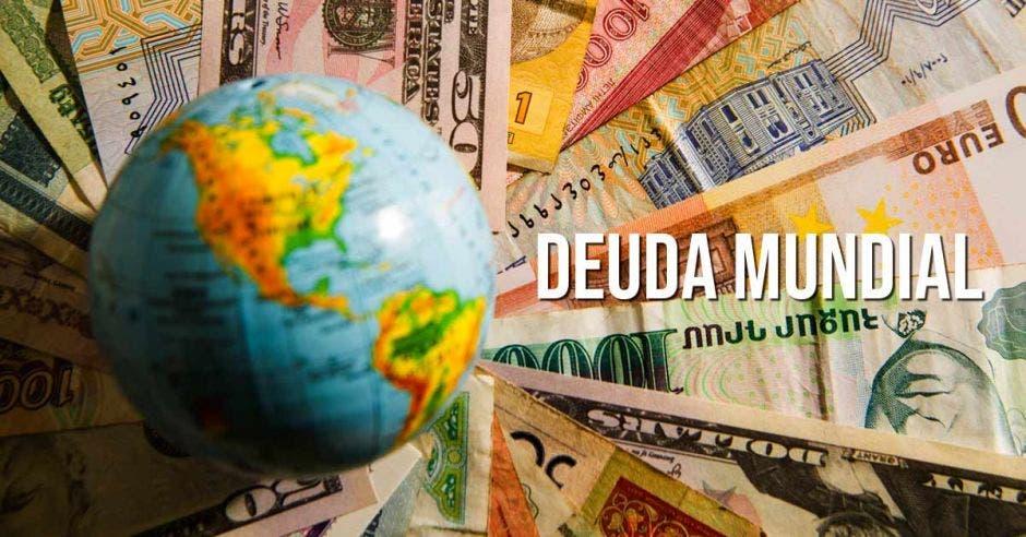 Mapa mundí, billetes, deuda mundial