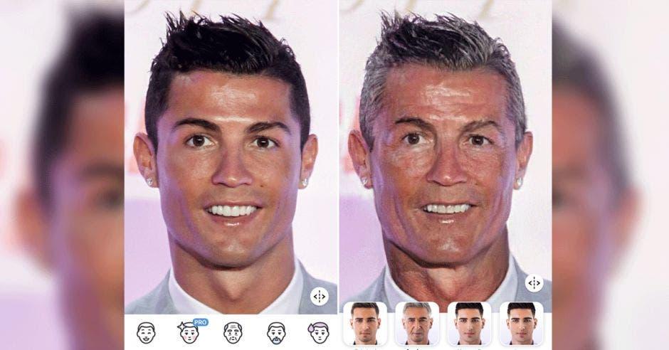 El futbolista Cristiano Ronaldo en la aplicación FaceApp