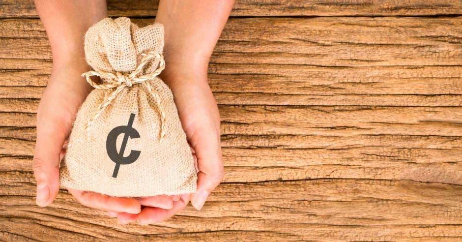 Bolsa de dinero sostenida por manos de mujer