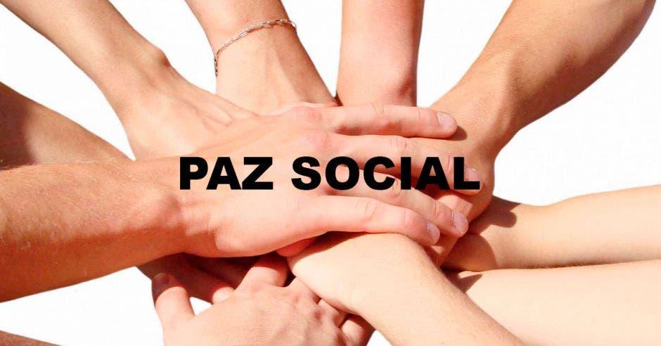 Una imagen de varias manos y la palabra paz social