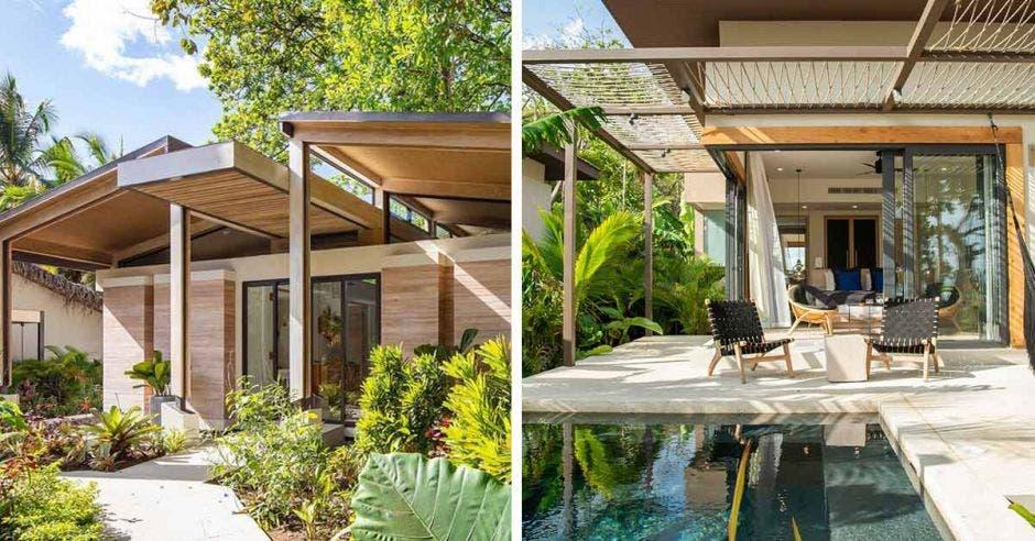 izquierda, una casa de manera y a la derecha una piscina y sillas al rededor