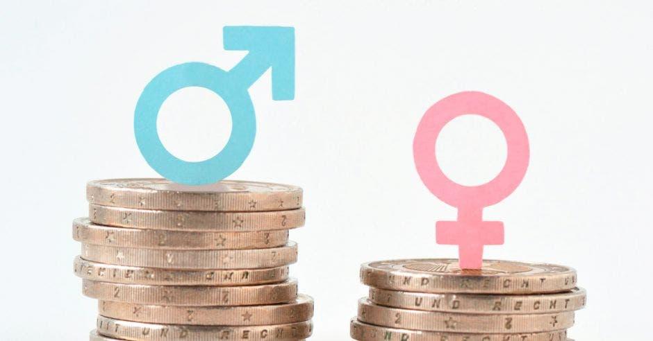 Símbolos de género y unas monedas