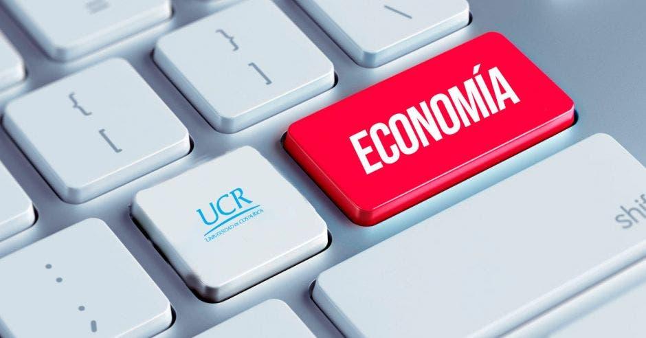 Un teclado con la letra Economía y el logo de la UCR