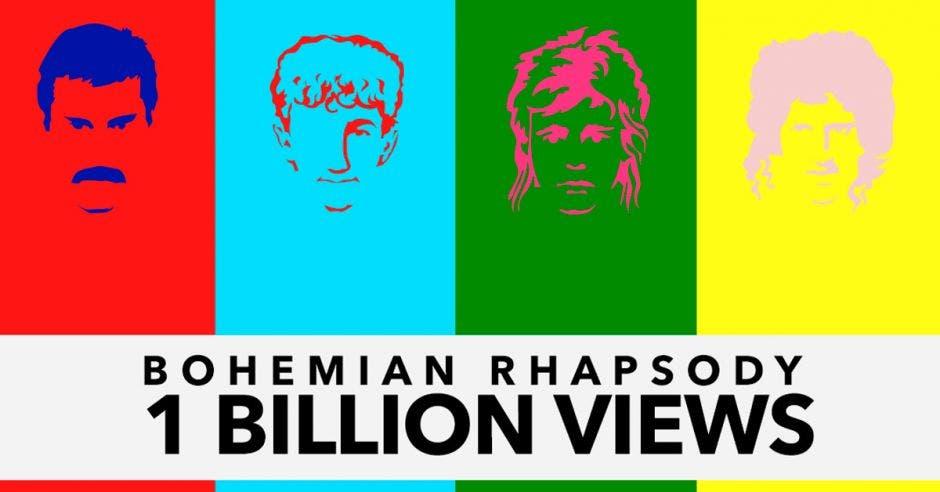 Un diseño de los integrantes de Queen con la palabra Bohemian Rhapsody