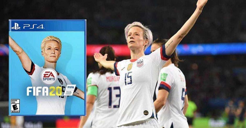 MEGAN RAPINOE celebra gol y sale en portada de juego
