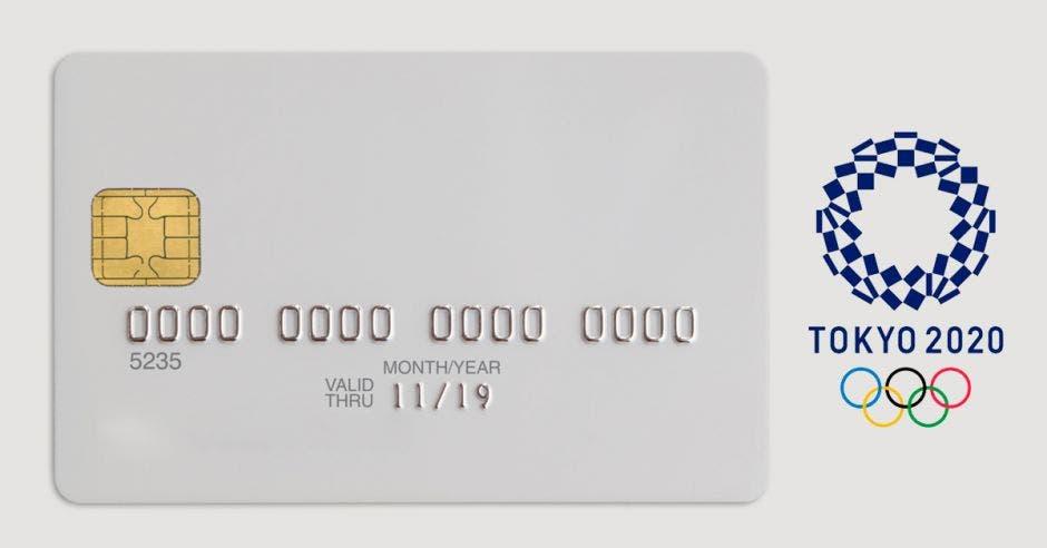 tarjeta de credito y logo tokio 2020