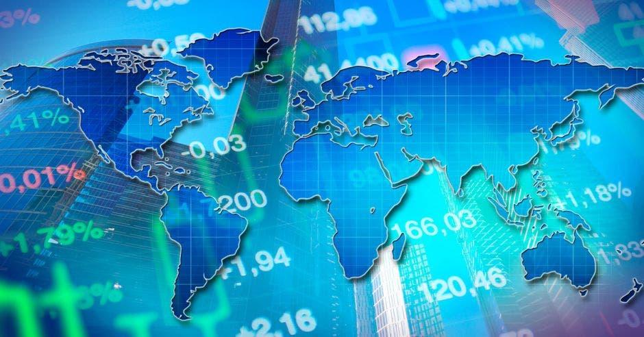 Mapa del mundo con fondo de proyecciones financieras
