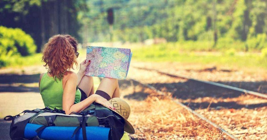 mujer con una maleta y un mapa esperando el tren