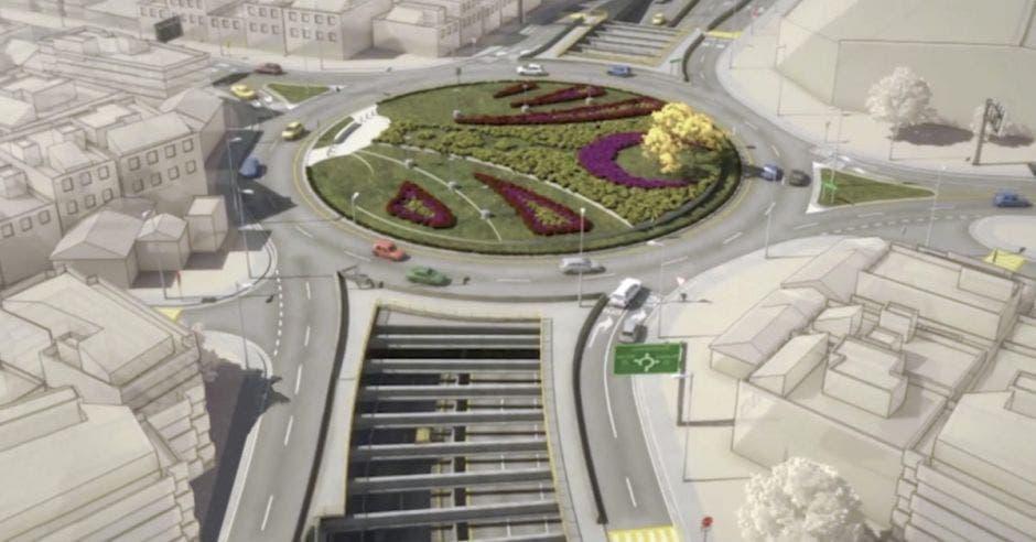 El proyecto contempla un viaducto a seis carriles sobre la rotonda y un paso a desnivel en la intersección frente de la facultad de Derecho de la Universidad de Costa Rica. Cortesía/La República