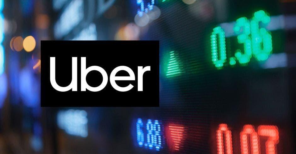 El logo de Uber con datos de la Bolsa
