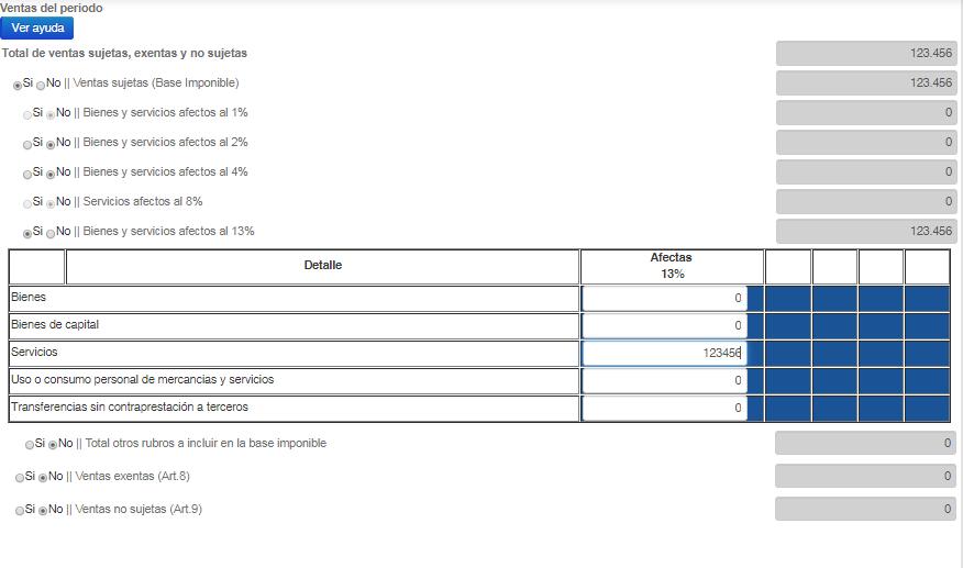 Recuadro de ventas del formulario del IVA