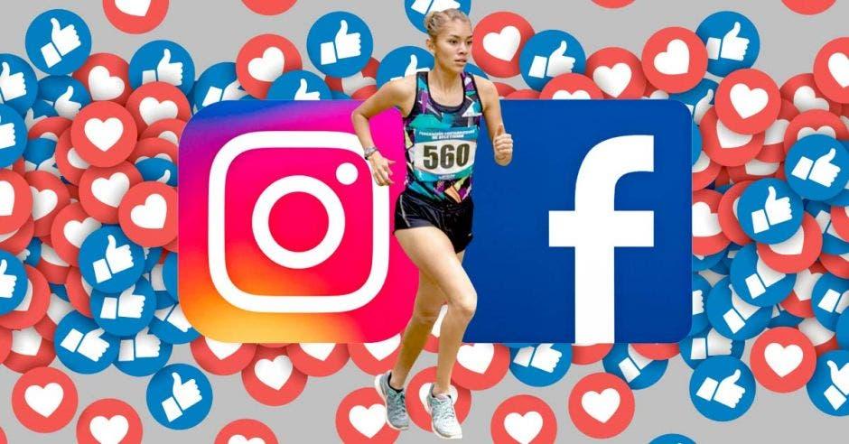 noelia bermudez y simbolos  de facebook e instagram