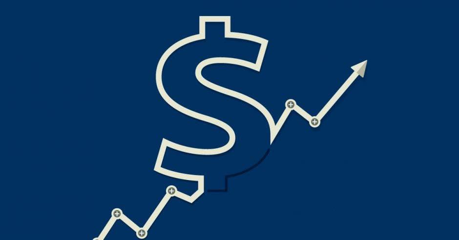 Signo dólar, flecha hacia arriba