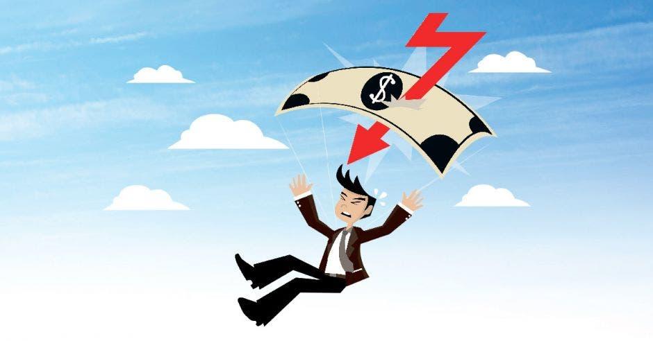 ilustración de un hombre cayendo con paracaídas