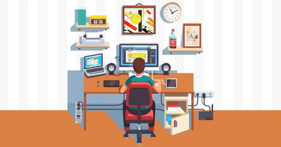 Una persona trabaja en su casa