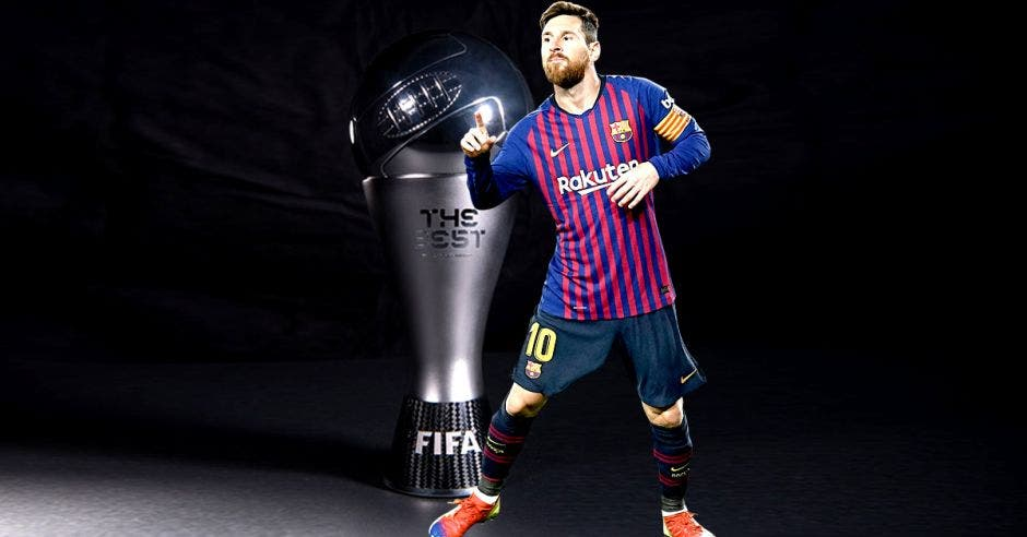 messi y el trofeo the best