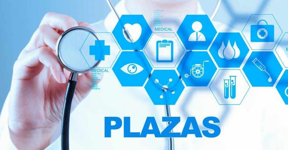Un doctor con un estetoscopio y la palabra Plazas