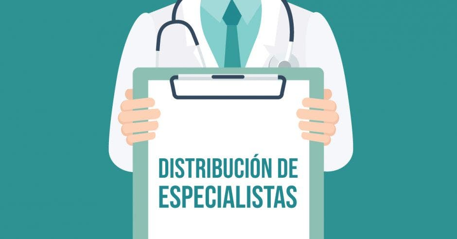 Un dibujo de un médico sosteniendo una pizarra que dice distribución de especialista