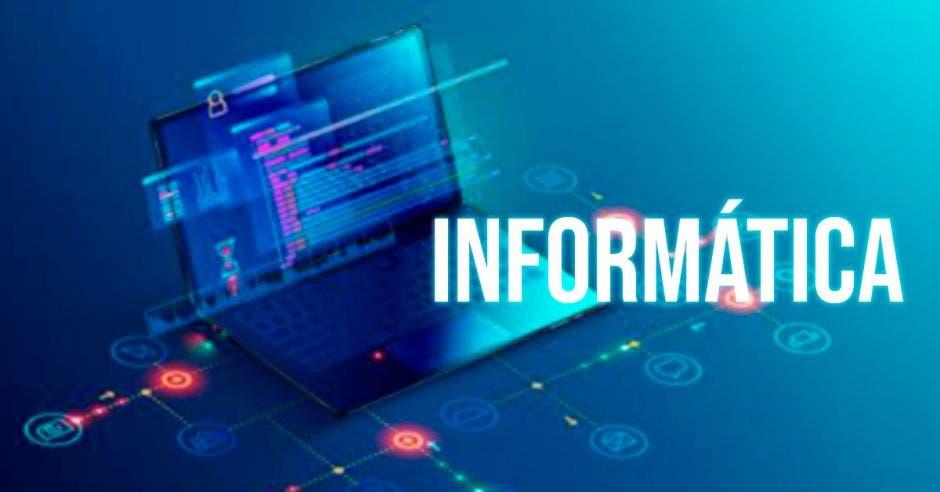 Una computadora con un letrero que dice Informática
