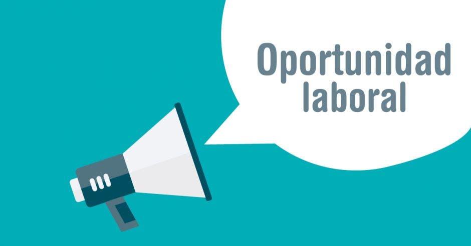 Un dibujo de un parlante con la palabra Oportunidad laboral