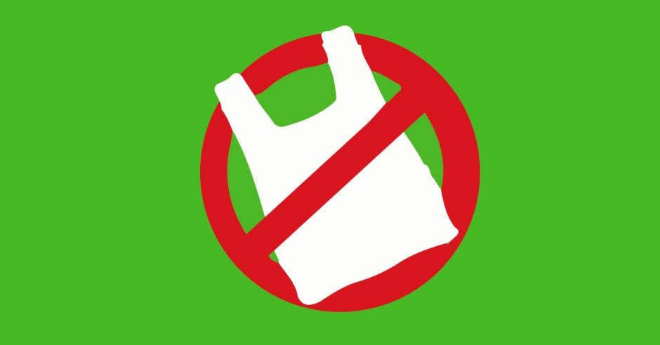 Una bolsa plástica y un símbolo de prohibido