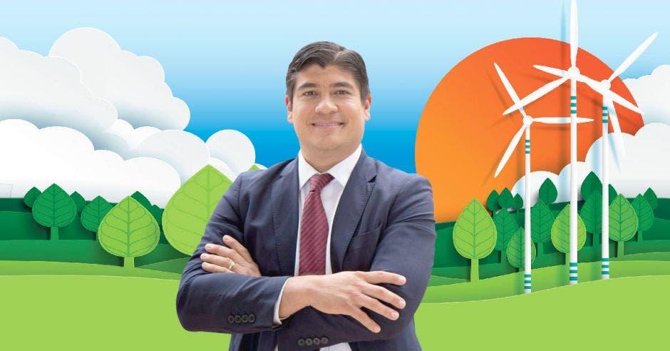 Carlos Alvarado con un fondo de medioambiente
