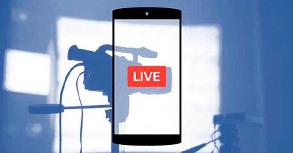 Una imagen de un celular con la palabra LIVE