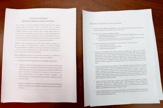 Convenio firmado por las partes y los logros señalados por el Minae