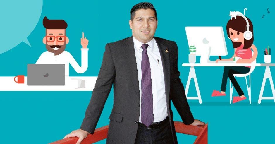 Ilustración de dos teletrabajadores y Steven Núñez, ministro de Trabajo
