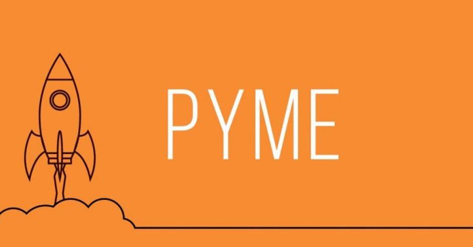 Una imagen de un cohete despegando con la palabra PYME