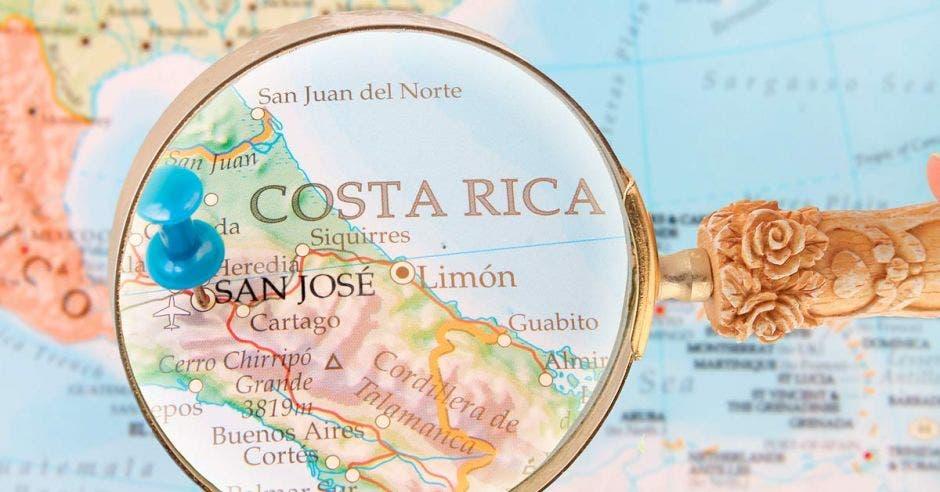 Mapa de Costa Rica bajo lupa
