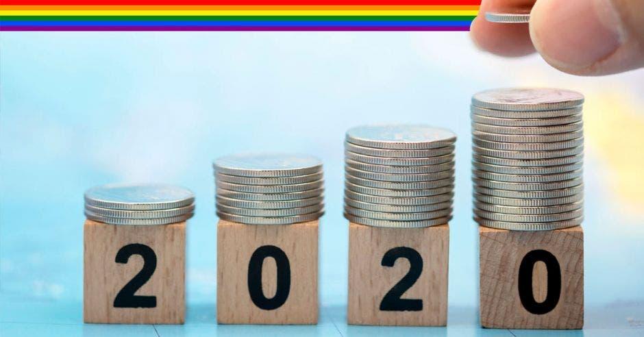 Monedas con bandera arcoiris