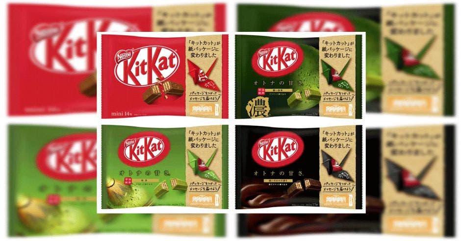 Cuatro envolturas de Kit Kat