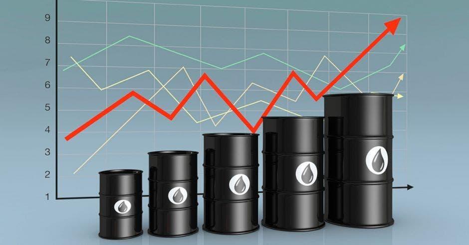 Barriles de petroloe con linea hacia arriba