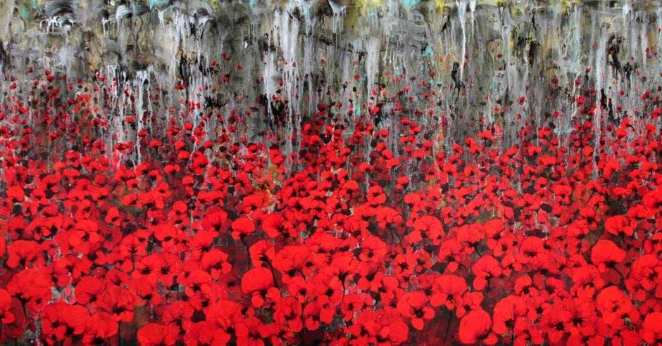 Una obra del artista ejemplificando un jardín floreado