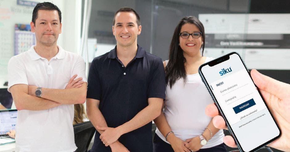 Rolando Calderón, fundador; Amadeo Quirós, director y Carolina Piña, gerente de operaciones de Siku, ofrecen la herramienta gratuita. Cortesía/La República