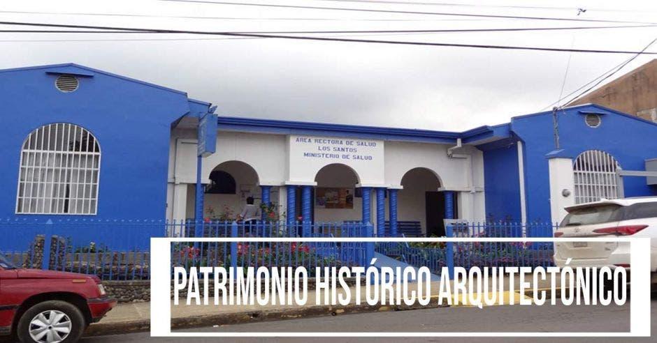 La fachada de la antigua Unidad Sanitaria de San Marcos de Tarrazú