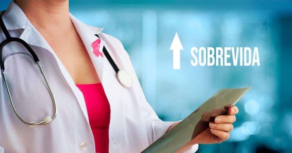 una doctora con un lazo rosado y la palabra sobrevida con una flecha hacia arriba
