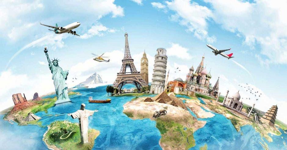 globo terráqueo con aviones en el cielo y monumentos como la Torre Eiffel